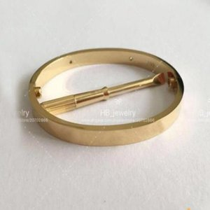 Fashion High version gold screw bracelet nail bangle pulsera braccialetto for mens and women Party wedding couples gift jewelry With BOX