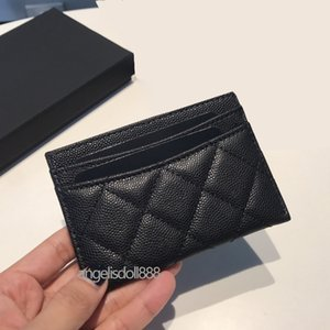 Womens Credit Card Holder purple calfskin caviar mini Wallets diamond genuine leather coin purse top quality quilted wallet