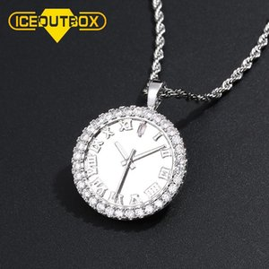 Personality Zircon Dial Pendant Hip Hop CZ Stone Bling Iced Out Watch Shape For Mens Fashion Clock Rhinestone Jewelry Gift Chains