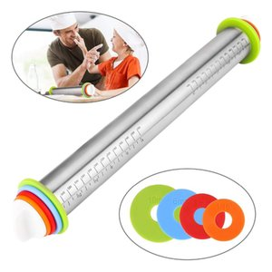 Stainless Steel Rolling Pin With Mat Dough Roller with 4 Removable Adjustable Thickness Rings