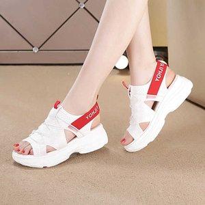 Moda açık parmaklı spor sandalet beyaz tıknaz kalın tabanlı platform ayakkabı ile elastik yaz kadın ayakkabı 35-40 210611