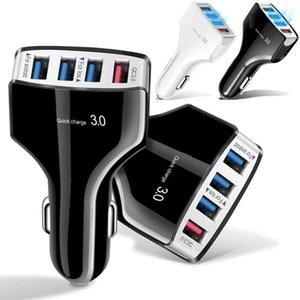 QC3.0 4 portas USB Rápido Carregador de Carro de Carregamento de Carregamento 5V 7A Carregadores de Carro Automático Auto para iPhone 7 8 x Samsung S10 S8 S8 HTC GPS PC