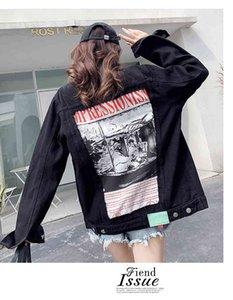 2021 New Spring Women Outerwear Black Denim Cool Back Abstract Pattern&Letter Print Oversize Coat High Street Jean Jacket