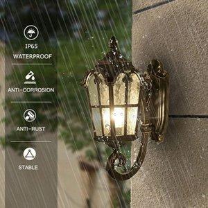 2021 Outdoor Wall Light Fixtures Black Roman Exterior Wall Lantern Waterproof Sconce Porch Lights Wall Mount