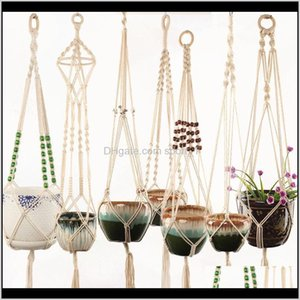 Decorations Patio, Lawn & Drop Delivery 2021 Rame Plant Hanger Indoor Outdoor Planter Basket Jute Retro Flower Pot Hanging Rope Holder String