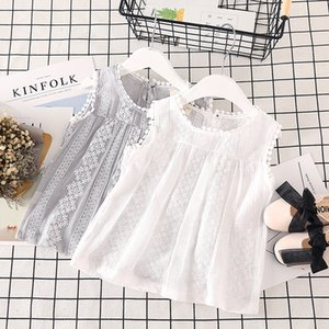 Girls' summer new style cotton sleeveless tops, kids tops, floral print casual children's clothes