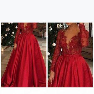 Скромные красные кружевные платья выпускного вечера Sexy V-шеи аппликация длинные рукава формальное вечернее платье длина полов