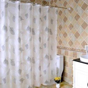 Серый листья душевой занавес романтический арт водонепроницаемый PEVA для ванной комнаты с крючками простые роскошные дизайнерские занавески