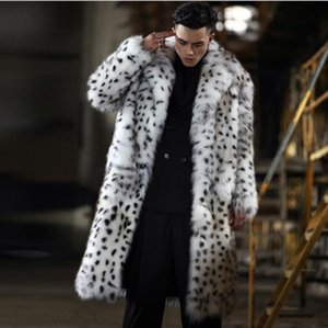 Long Section Men Leopard Print Oversized Jackets Turn Down Collar Male Imitation Fur Outwears Mixed Color Winter Coats J3215 Men's & Faux