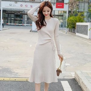 dress Around neck at knee height of sleeve mesh the line dressed woman tie fine spring fashion clothes Korean