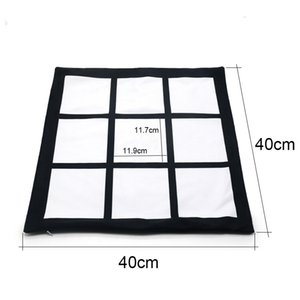 sublimation blank case black grid woven Polyester pillow heat transfer cushion cover throw sofa pillowcases 40*40cm 382 S2 XTTT