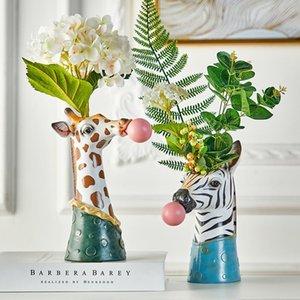 Resin Cartoon Animal Head Vase Succulents Flower Pot Coffee Shop Showcase Blowing Bubbles Simulation Animal Vase Decor