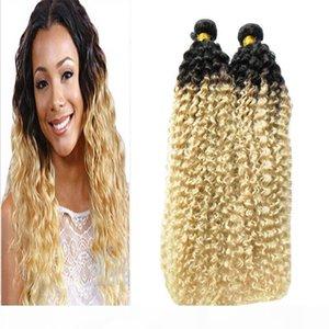 변태 곱슬 처녀 머리 옴브 짜다 머리카락 금발 t1b 613 브라질 머리 위브 번들 200g 브라질 변태 곱슬 2 개