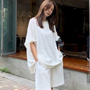 Women's Tracksuits spring and white summer short sleeve Korean shirt shorts two women's suit loose waist casual high sports upper pants HSFC
