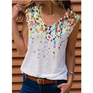Women's Summer Fashion Printed Blouse Elegant Sleeveless Plus Size Casual Loose Tops
