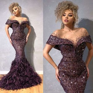 Feather Mermaid Luxury Prom Gowns 2020 Bling Beaded Sequins Off Shoulder Cloth Party Dresses Mermaid Evening Dresses