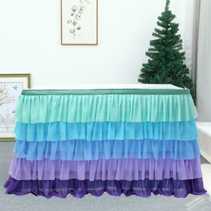 185cm x 77cm Solid Color Table Skirts Tulle Ruffled Table Skirt Decoration for Rectangle Round Table 5-layer Home Decor White 1290 V2