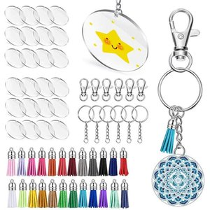 Acrylic Transparent Circle Discs,Clear Keychain Blanks And Tassel Pendant Keyring Set For DIY Projects Craft Keychains