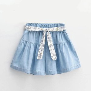 Skirts Children Girls Denim Style Light Blue Quality Cotton Short Pant-skirts 12 13year Big Girl Clothing