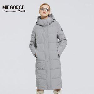 MIEGOFCE 2020 Yeni kadın Uzun Pamuk Mont Miegoce Logo Tasarım Kış Su Geçirmez Parkas Rüzgar Geçirmez Giyim Kadın Ceket1