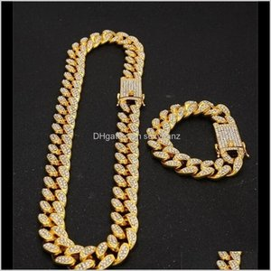 & Sets Jewelry Drop Delivery 2021 1M Miami Cuban Link Chain Gold Sier Necklace Bracelet Set Iced Out Crystal Rhinestone Bling Hip Hop For Men