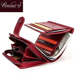 Contact's Genuine Leather Wallets Women Men Wallet Short Small Rfid Card Holder Wallets Ladies Red Coin Purse Portfel Damski C0601