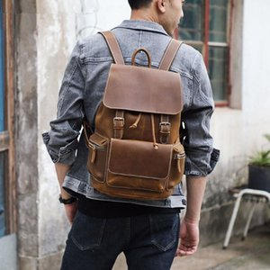 Men's Vintage Genuine Leather Backpack Brand Design Laptop Business School Bag Classic Travel Bags