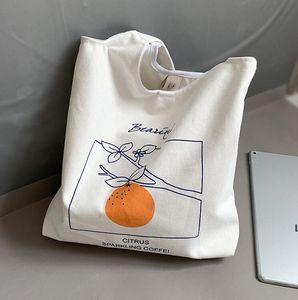 Canvas Bag Fruits orange peach Printed shoulder bags handbag literature Japanese style student underwaist design high-capacity DHC7393