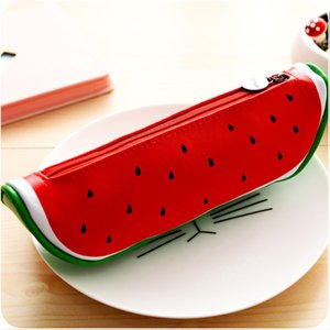 Fruit style cute school pencil case for girls Novelty Leather pencil bag kawaii Stationery office school supplies 412 V2