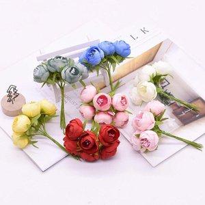 6pcs bouquet Fake Roses Bouquet Home Decor Artificial Decoration Wedding Plant Props Decorative Flowers & Wreaths