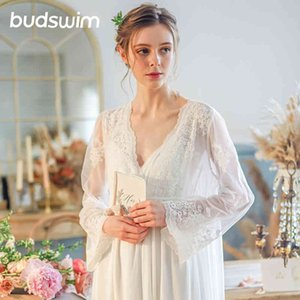 Sleepwear Nightgown Bath Gown Wedding Bride Bridesmaid Wedding Robe Lace sleeping dress Nightwear Vintage princess dressing gown