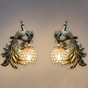 Wall Lamps Retro LED Resin Lamp For Living Room Bedroom Sofa TV Background Light Home Decoration Peacock Model Sconce
