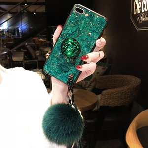 Luxury Glitter Sparkle Marble Diamond Cell Phone Cases Crystal TPU DIY Cover with Stand Holder & Fur Pendant for iPhone Samsung