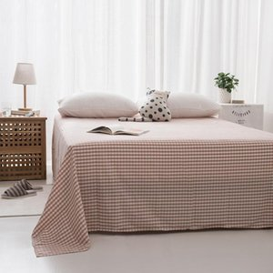 Sheets & Sets Japanese 100% Cotton Flat Sheet For Adults Bed Soild Plaid Queen King Size Bedroom 240*270cm