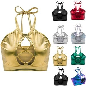 Camisoles & Tanks Womens Holographic Wetlook Metallic Halter Neck Front Hollow Out Backless Cami Vest Tank Top Blouse Pole Dance Crop Bra