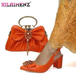 Especiale ontwerp Afrikaanse Vrouwen Werken Shoes BijosPassende Set en Oranje Kleur Nieuwe Coming Kantoor Dame Schoenen en TAS