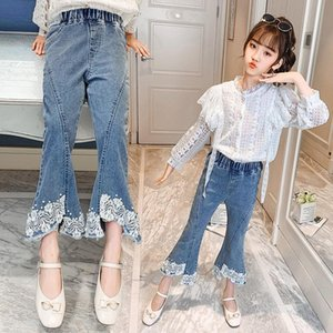 Kids Pants Teens Girls Fashion Lace High Waist Elastic Flare Jeans Casual 2021 Spring Autumn Children's Denim Trousers 5-14Yrs