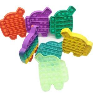 Finger Push Bubble Bambini Adulti Novel Fidget Semplice Dimple Dimple Giocattolo di decompressione Colore solido Arcobaleno Robot Robot Desktop Puzzle Giocattoli G39a8ji