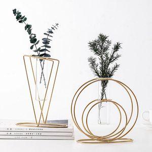 Blumenständer Eisen Wohnkultur Nordic Modern Dekoration Glas Design Hydroponics Bodenvase Aufbewahrungskorb Pflanze Regal Zubehör Vasen