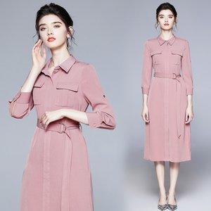 Qualità Elegante camicia rosa abito donna 2021 designer moda 3/4 maniche aderente convolenti di risvolto per ufficio autunno abiti da ballo sottile autunno inverno vacanze abiti da donna