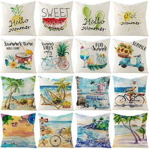 Pillow Cover Cushion Home Linen Summer Fruit Beach Printed Sofa bed
