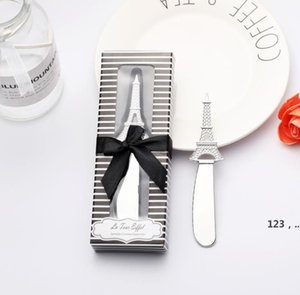 Kitchen Tools 50pcs Eiffel Tower Butter Knife Cheese Dessert Jam Spreaders in Gift Boxes Wedding Gifts Favors GWA9302