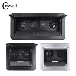 COSWALL Black All Aluminum Metal Body Double EU Power Outlet Table Office Socket With Dustproof Brush Clamshell Cover Soft Close