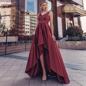 Toujours jolies robes de bal rose poussiéreux Double col en V à paillettes asymétriques asymétriques sans manches de robe de chasse Vestidos formes 2021