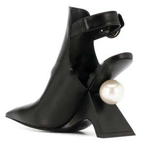 Womens Pointy Leather A big Pearl Strange Fretwork High Heel Shoes Pumps Slingbacks Black White Luxury Plus Siz