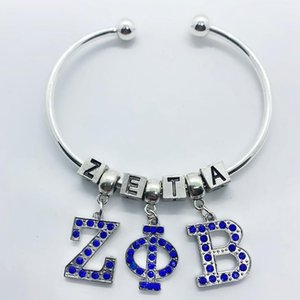 Blue Rhinestone Inlaid Metal Greek Letter ZETA PHI BETA Pendant Big Hole Beads Bracelet Sorority Society Opening Wire Bangle Charm Bracelets