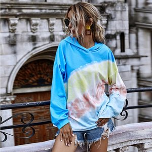 2021 New Autumn Winter Casual Tie Dye Women Medium Long Hooded Pullovers Knitted Hoodies Top Vtat