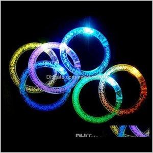 Decoration Glitter Bracelet Bandgle Led Crystal Gradient Color Hand Ring Acrylic Glow Flash Light Sticks Party Dance Xmas Supplies Toy X7Lpu
