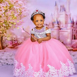 2021 Pink Crystals Flower Girl Dresses Sequined Sheer Neck Tulle Ball Gown Lilttle Kids Birthday Pageant Weddding Gowns