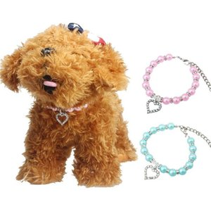 Pcs Sweet Rhinestone Pearl Pet Collar Heart Beaded Adjustable Chain Dog Choker Fashion Necklace Puppy Supplies Collars & Leashes